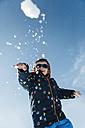 Little boy throwing snowball - JRFF000390