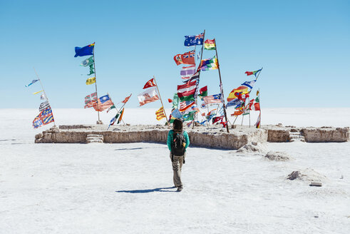 Bolivia, Atacama, Altiplano, Salar de Uyuni, Flags from all countries - GEMF000695