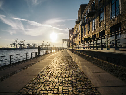 Germany, Hamburg, Sunset on harbour - KRPF001710