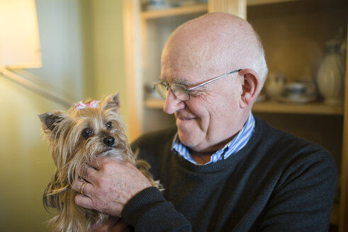 Senior man with his Yorkshire terrier at home - RAEF000858