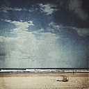 France, Contis-Plage, empty beach with fallen lifeguard-seat, textured effect - DWIF000677