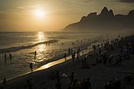 Brazil, Rio de Janeiro, Ipanema beach at sunset - MAUF000240