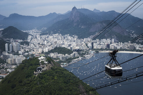 Brazil, Rio de Janeiro, view to the city from Sugarloaf Mountain with cable car in the foreground - MAUF000243