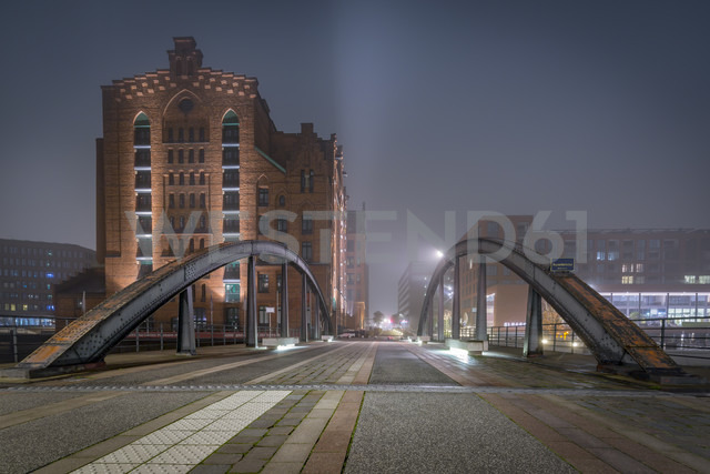 Germany, Hamburg, The Maritime Museum in the Hafencity at night - NKF000458