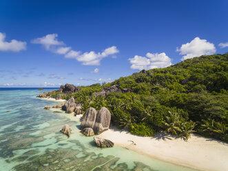 Seychelles, La Digue Island, Anse Source D'Argent, Aerial view of beach - FOF008406