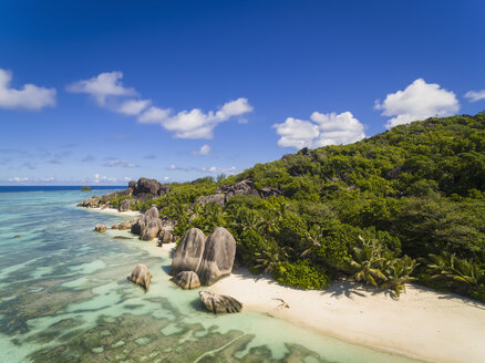 Seychelles, La Digue Island, Anse Source D'Argent, Aerial view of beach - FOF008406