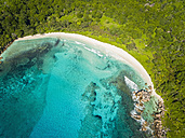 Seychelles, La Digue, View of the Anse Cocos beach, aerial view - FOF008409