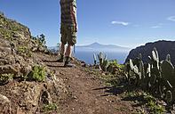 Spain, Canary Islands, La Gomera, hiker on trail - RHF001281