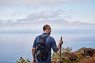 Spain, Canary Islands, La Gomera, hiker on trail - RHF001290
