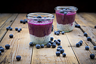 Two glasses of chia blueberry pudding - LVF004515