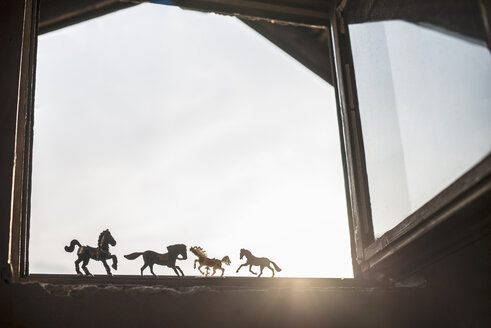 Silhouettes of four toy horses standing at opened window - DEGF000613