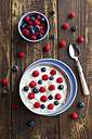 Yogurt with blueberries and raspberries in bowl on wood - SARF002557