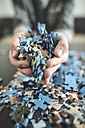 Boy's hands holding jigsaw pieces - DEGF000624