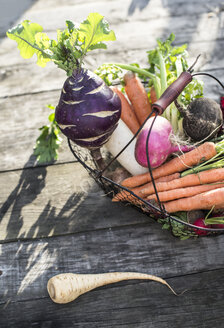 Wire basket with different root vegetables - DEGF000627