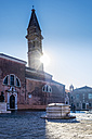 Italy, Veneto, Burano, view to tilted tower at backlight - HAMF000150