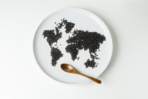 Beluga lentils on plate shaped like a world map with wooden spoon - FLF001310