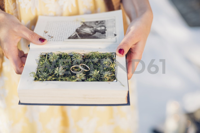 Woman's hands holding prepared book with two wedding rings lying on moss - MJF001727 - Jana Mänz/Westend61