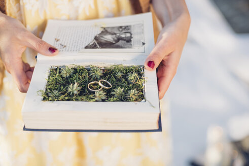 Woman's hands holding prepared book with two wedding rings lying on moss - MJF001727