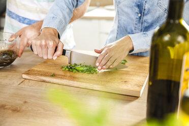 Chopping herbs on chopping board - FMKF002311