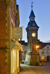 UK, Wales, Hay-on-Wye, Clock tower in the inner city - SH001868