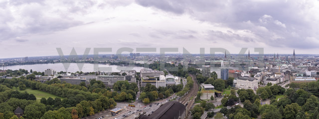 Germany, Hamburg, cityscape with Binnenalster and Outer Alster Lake - KRPF001733