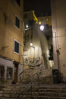 Portugal, Lisbon, Narrow lane with steps at night - HLF000951