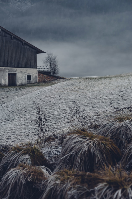 Germany, Bavaria, Berchtesgadener Land, farmhouse in winter - MJF001747