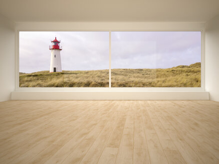 Empty room, looking through window to dune lanscape with lighthouse - UWF000782