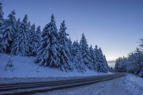Germany, Lower Saxony, Harz National Park, mountain road in the evening - PVCF000789