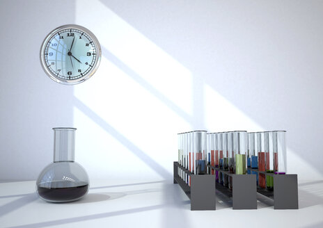 Chemistry lab with test tubes and clock, 3d illustration - ALF000685