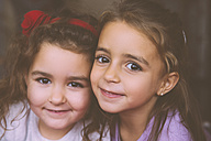Portrait of two smiling little girls - ERLF000146