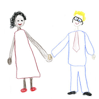 Children's drawing of mixed-race couple - CMF000355