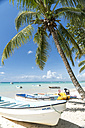 Dominican Republic, boats on the sandy beach of Bayahibe - PCF000241