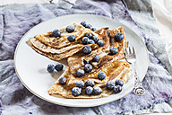 Crepes with blueberries sprinkled with icing sugar on plate - SBDF002697