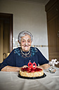 Portrait of happy senior woman celebrating her ninetieth birthday - RAEF000928