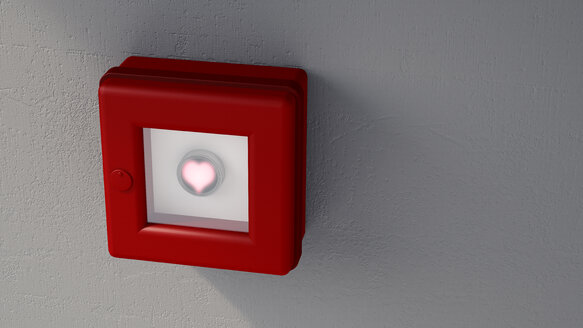 Fire alarm with shining heart on grey wall - UWF000791