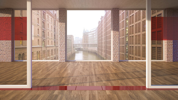 Empty room with parquet and glass walls in a brick building, 3D Rendering - UWF000797