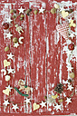 Different Christmas cookies and Christmas decoration on wood - ASF005857