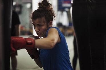 Female boxer exercising at punch bag - ZEDF000059