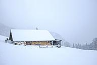 Germany, Bavaria, Berchtesgaden, Rossfeld, mountain hut in winter - HAMF000176