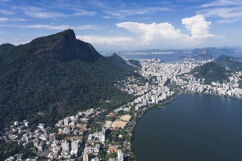 Brazil, Aerial view of Rio De Janeiro, Corcovado mountain with statue of Christ the Redeemer - MAUF000313
