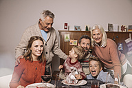 Happy family of three generations during Christmas dinner - MFF002844