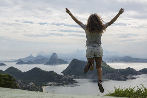 Brazil, woman on a viewpoint in Rio de Janeiro - MAUF000319