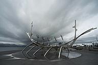 Iceland, Reykjavik, sculpure The Sun Voyager - PA001638