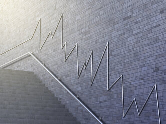 Line chart on wall, 3d rendering - AHUF000123