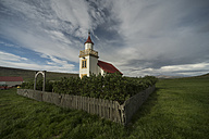 Iceland, church in rural landscape - PAF001719