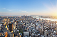 USA, New York City, Manhattan, view to financial district at sunset from above - HSIF000418