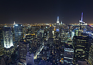 USA, New York City, view to Midtown Manhattan at night from above - HSIF000427