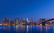 USA, New York City, Manhattan, view to financial district at dawn - HSIF000430