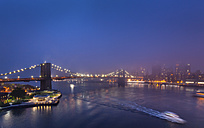 USA, New York City, view to Brooklyn Bridge in the fog at night - HSIF000433